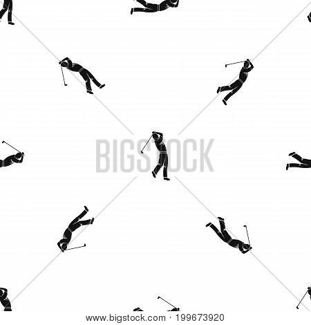 Golf player pattern repeat seamless in black color for any design. Vector geometric illustration