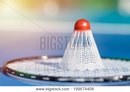 Shuttlecock or birdie on badminton racket close up