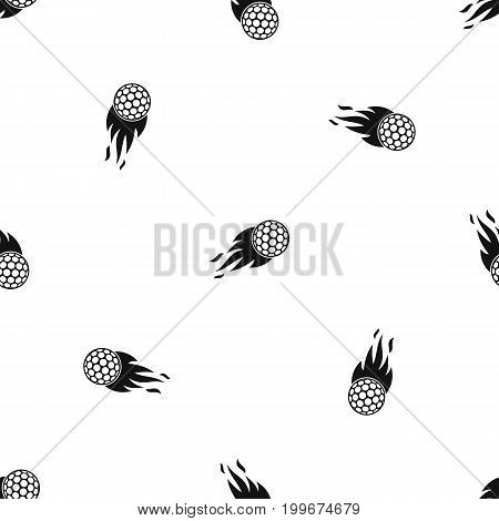 Burning golf ball pattern repeat seamless in black color for any design. Vector geometric illustration