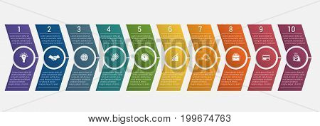 Horizontal numbered color arrows with text template infographic for ten positions