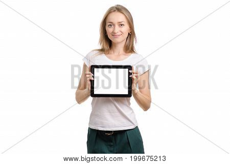 Beautiful young girl with tablet on white background isolation