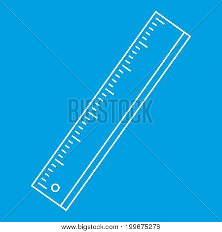 Ruler icon blue outline style isolated vector illustration. Thin line sign