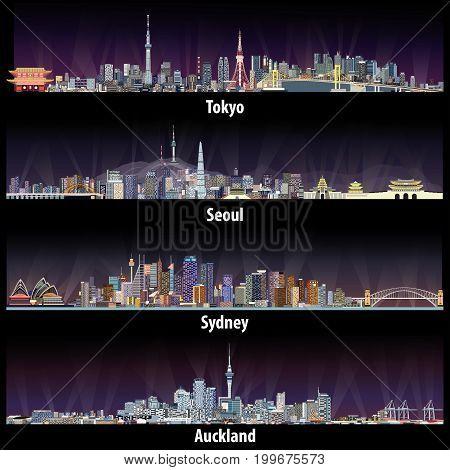 Tokyo, Seoul, Sydney, Auckland At Night