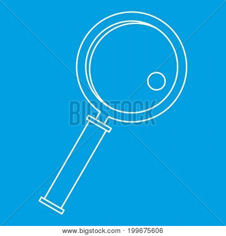 Magnifier icon blue outline style isolated vector illustration. Thin line sign