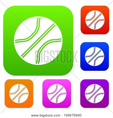 Basketball ball set icon in different colors isolated vector illustration. Premium collection