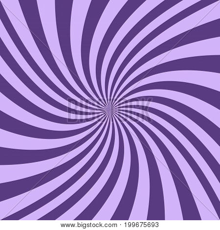 Abstract spiral background from purple curved ray stripes - vector graphic