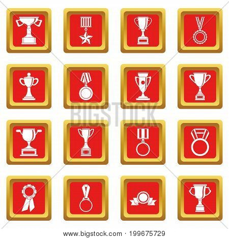Trophy icons set in red color isolated vector illustration for web and any design