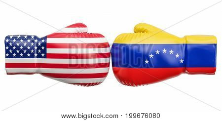 Boxing gloves with USA and Venezuela flags. Governments conflict concept 3D rendering