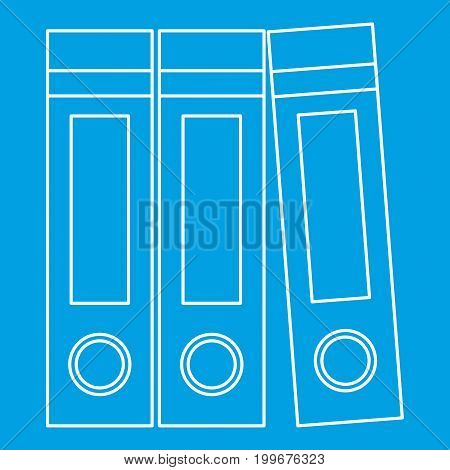Archive folders icon blue outline style isolated vector illustration. Thin line sign