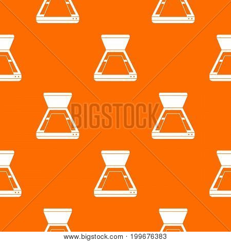Open scanner pattern repeat seamless in orange color for any design. Vector geometric illustration