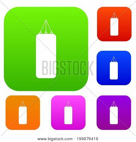 Punching bag for boxing set icon in different colors isolated vector illustration. Premium collection