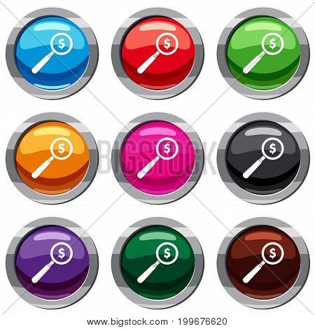 Magnifier set icon isolated on white. 9 icon collection vector illustration