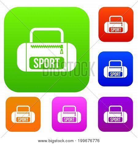 Sports bag set icon in different colors isolated vector illustration. Premium collection