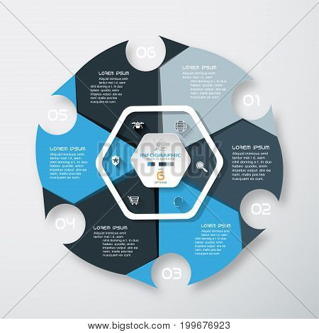 Vector infographic of hexagonal form and color segments with round cutout text and white icons with long shadows on the gradient gray background.