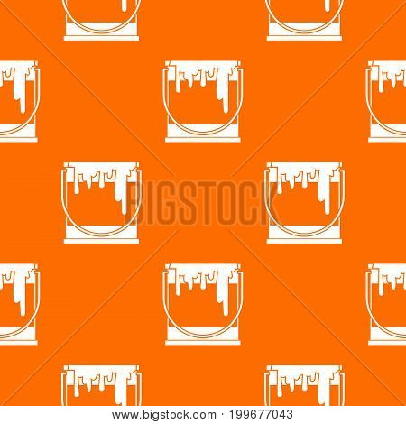 Paint can pattern repeat seamless in orange color for any design. Vector geometric illustration