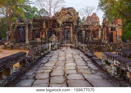 Textured Stone Road And Ancient Temple Ruins In Angkor Wat