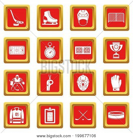 Hockey icons set in red color isolated vector illustration for web and any design