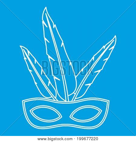 Carnival mask with feathers icon blue outline style isolated vector illustration. Thin line sign