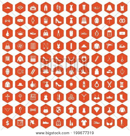100 womens accessories icons set in orange hexagon isolated vector illustration