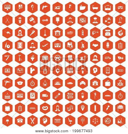100 work icons set in orange hexagon isolated vector illustration