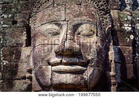 Detail Of Vintage Stone Face In The Bayan Temple At Angkor Wat
