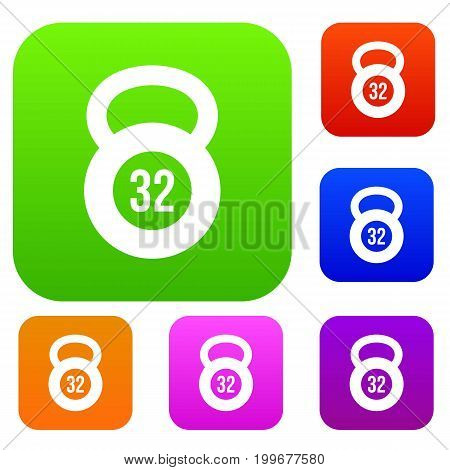 Kettlebell 32 kg set icon in different colors isolated vector illustration. Premium collection