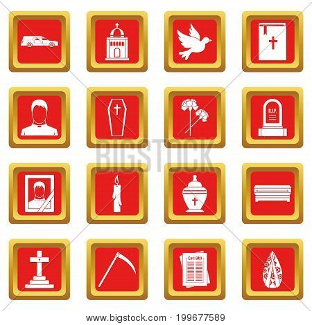 Funeral icons set in red color isolated vector illustration for web and any design