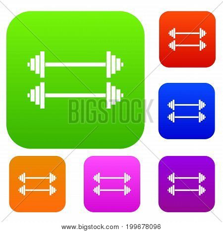 Two barbells set icon in different colors isolated vector illustration. Premium collection