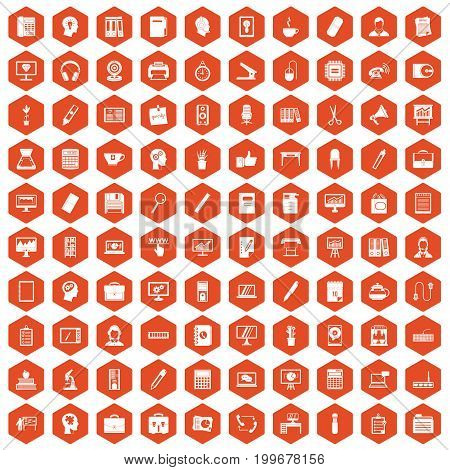 100 work space icons set in orange hexagon isolated vector illustration