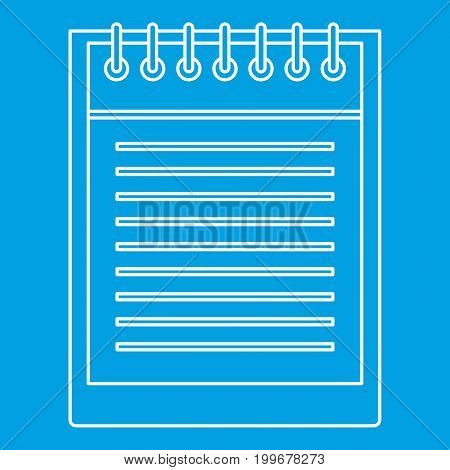 Notepad with spiral icon blue outline style isolated vector illustration. Thin line sign
