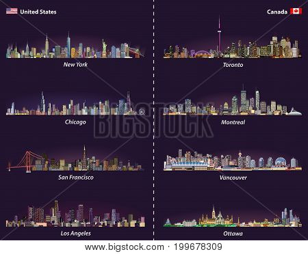 United States and Canadian city skylines at night vector set