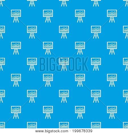Flipchart with marketing data pattern repeat seamless in blue color for any design. Vector geometric illustration