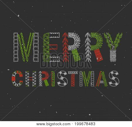 Merry Christmas Embroidered hand drawn font. Detiled stitches in a various way. Modern style lettering. Green and red christmas colors on black snowy background.