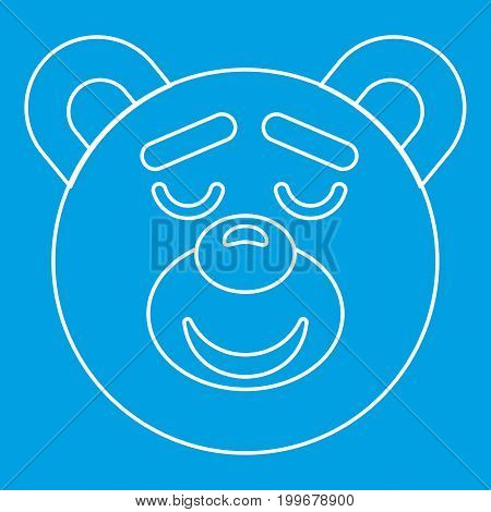 Teddy bear head icon blue outline style isolated vector illustration. Thin line sign