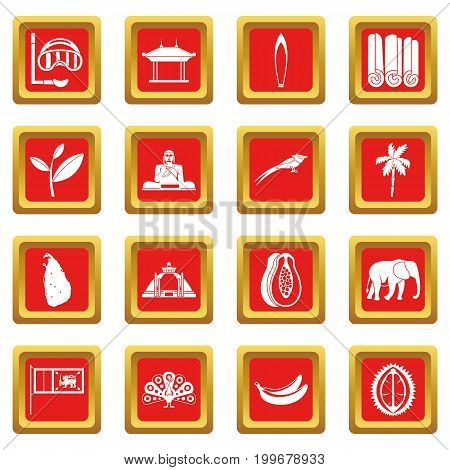 Sri Lanka travel icons set in red color isolated vector illustration for web and any design