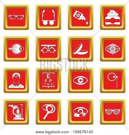 Ophthalmologist tools icons set in red color isolated vector illustration for web and any design