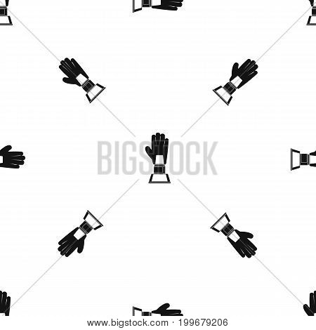 Baseball glove award pattern repeat seamless in black color for any design. Vector geometric illustration