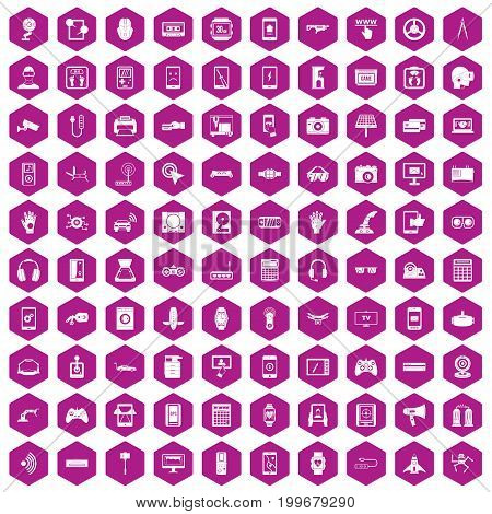 100 adjustment icons set in violet hexagon isolated vector illustration