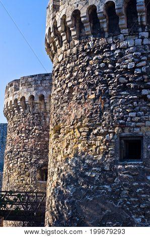 Fortress towers and a wooden bridge at Kalemegdan in Belgrade, Serbia