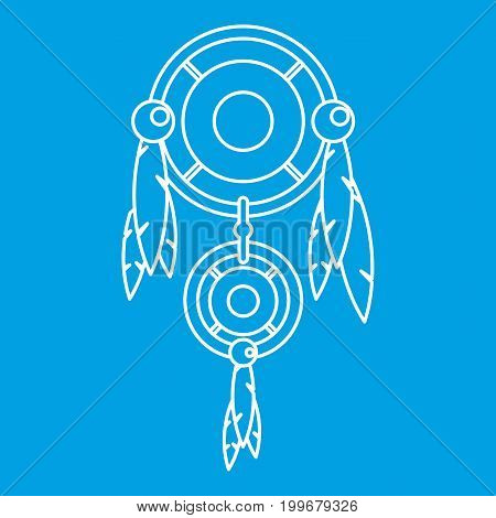 Dreamcatcher icon blue outline style isolated vector illustration. Thin line sign