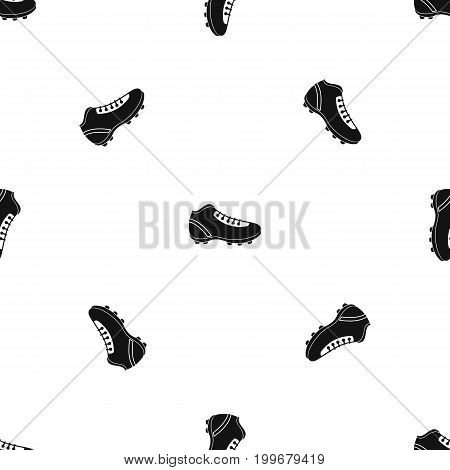 Baseball cleat pattern repeat seamless in black color for any design. Vector geometric illustration