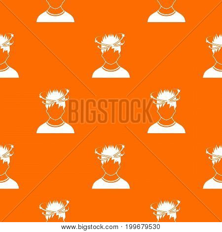 Man with dizziness pattern repeat seamless in orange color for any design. Vector geometric illustration