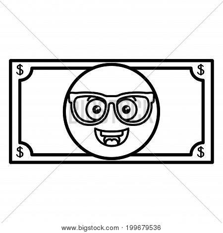 bills dollars with glasses kawaii character vector illustration design