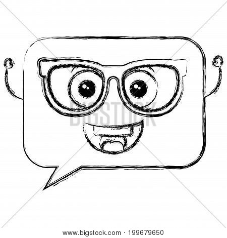 speech bubble message with glasses kawaii character vector illustration design