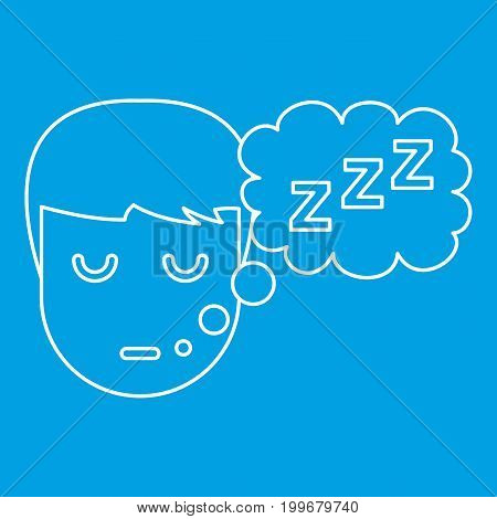 Sleeping boy icon blue outline style isolated vector illustration. Thin line sign