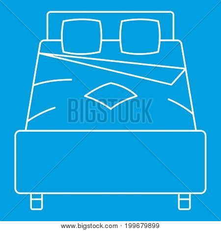 Double bed icon blue outline style isolated vector illustration. Thin line sign
