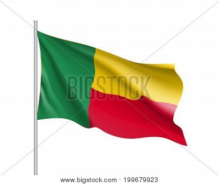 Benin flag. Illustration of African country waving flag on flagpole. Vector 3d icon isolated on white background. Realistic illustration