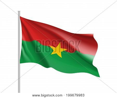 Burkina Faco flag. Illustration of African country waving flag on flagpole. Vector 3d icon isolated on white background. Realistic illustration
