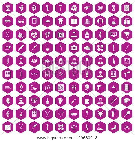 100 ambulance icons set in violet hexagon isolated vector illustration