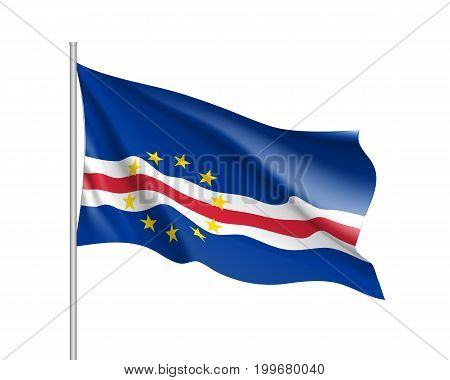Cape Verde flag. Illustration of African country waving flag on flagpole. Vector 3d icon isolated on white background. Realistic illustration